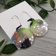 Sparkly Glitter Galactic - Button Hoop Dangle earrings