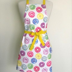 Donut Yellow Womens Handmade Kitchen Apron - FREE Post