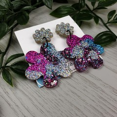 Blooming Sparkle Flower Drop Resin - Stud Dangle earrings