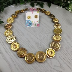 Pirates Gold- Button Necklace - Button Earrings