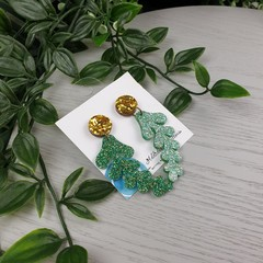 Glittering Gold Leaf Drop Acrylic Stud Dangle earrings