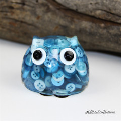 Cute Blue Button Owl - Paperweight / Ornament - Solid Button Filled Resin
