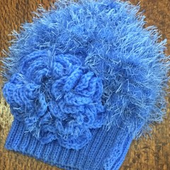 Blue Beanie with flower