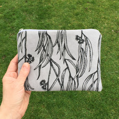 Hand screen printed Eucalyptus pouch