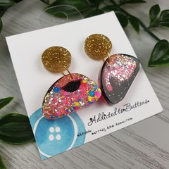 Organic Moon Sparkle Drop Resin - Stud Dangle earrings