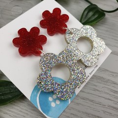 Donut Flowers Sparkle Silver and Red Drop Resin - Stud Dangle earrings
