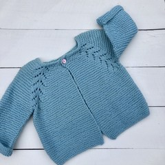 Gorgeous Hand Knitted Cardigan in Mint Green Pure Wool, fits 1-2 years
