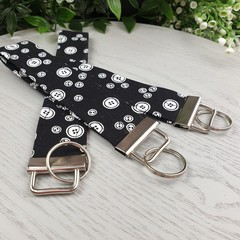Black and White Buttons - Key Fob - Button Fabric - Wristlet - Bag Tag