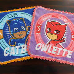 PJ Masks  -Catboy and Owlette Face Washers with crocheted edges