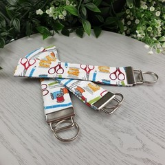Sewing Theme - scissors and measure Key Fob - Button Fabric - Wristlet - Bag Tag