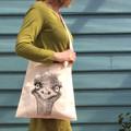Screen printed emu shoulder bag
