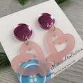 Frosted Pink Pretzel Heart Drop Acrylic Stud Dangle earrings