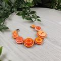 Bracelet - Orange - Mixed Button Bracelet