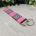 Retro Squares - Key Fob - Button Fabric - Wristlet - Bag Tag