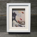 Joyful artwork - framed Hokusai print and cranes