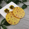 Sunflower - Yellow -  Dangle Earrings - Acrylic - Glitter