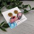 Organic Moon Sparkle Drop Resin - Stud Dangle earrings