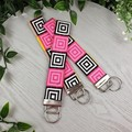 Retro Squares - Key Fob - Button Fabric - Wristlet - Bag Tag