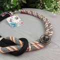 Knot Orange Black White - Button Fusion Necklace - Button Jewellery - Earrings