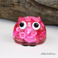 Cute Pink Button Owl - Paperweight / Ornament - Solid Button Filled Resin