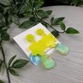 Yellow Sparkle Flower Drop Resin - Stud Dangle earrings