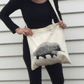 Screen printed Echidna calico shopping bag