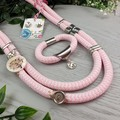 Pink looped up Necklace + Earrings - Silver Tone findings on Stunning cord