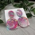 Disco Diva Oval and Circle Drop Resin - Stud Dangle earrings