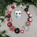 Classic Red Black white- Button Necklace - Earrings
