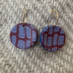 Burgundy and Blue Ear Rings