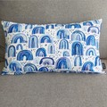 Cushion cover with insert- blue rainbows