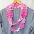 Boho Clothing Scarf For Women Romantic Pink Doilies Upcycled Ombre Shabby Chic