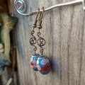 Brass Twist with Cloisonne Bead Earrings