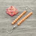 Peach Stone Column Earrings