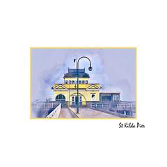 St Kilda Pier Watercolour Canvas Framed