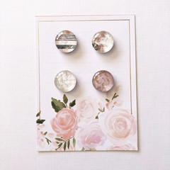 Glass magnets - Floral glitter