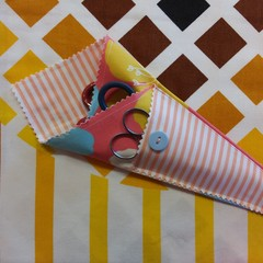 Handy Scissor Holder- Modern peach floral and stripe print
