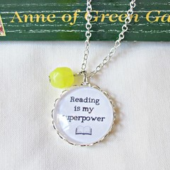 Reading Is My Superpower Quote Necklace Jewellery Bookworm Gift