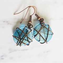 Antique boho style Round Aqua blue glass disk wire wrapped dangle earrings