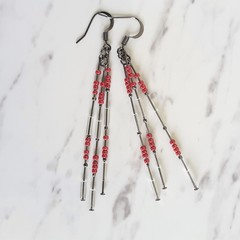 Long slim unique modern art beaded tassel dangling earrings (Red Maroon & Clear)