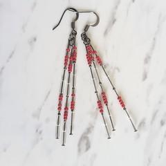 Long slim unique modern art beaded tassel dangling earrings (Red Maroon & Clear)