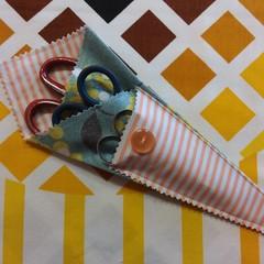 Handy Scissor Holder-Wattle print with stripe