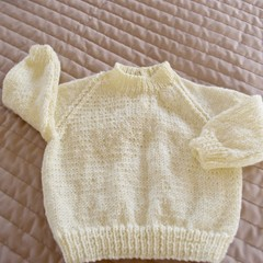 SIZE 0-6mths - Hand knitted jumper in lemon with sparkly fleck: washable, warm