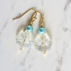 Bohemian Hippie Nature style Glass flower bead & blue pearl drop earrings