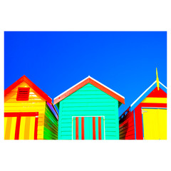 Beach Boxes - Laminated Poster A3