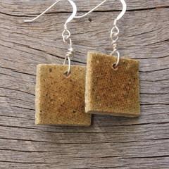 Unique handmade ceramic earrings. Vintage squares.