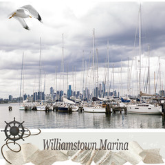 Williamstown Marina Collage Canvas Framed