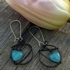 Wire wrapped Blue Heart Earrings