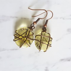 Antique boho style Round Lemon yellow glass disk wire wrapped dangle earrings