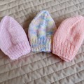 *Special * 3 beanies: (0-6mths): Washable, girl, soft, winter